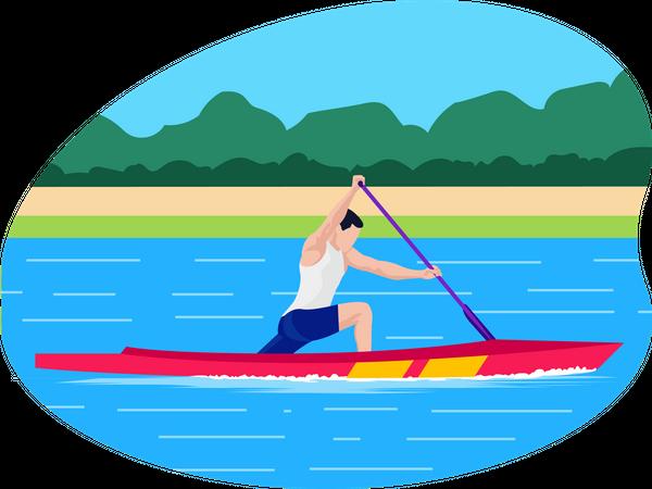 Male boating player Illustration