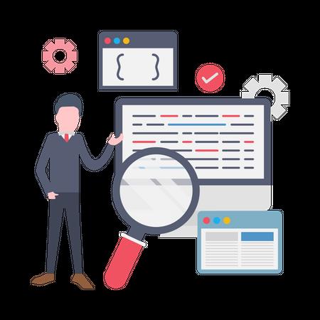 Male business manager finding management solution Illustration