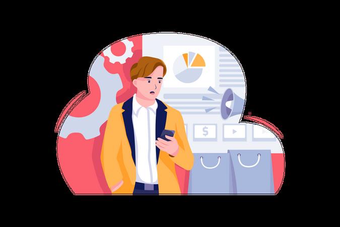Male businessman about business marketing Illustration