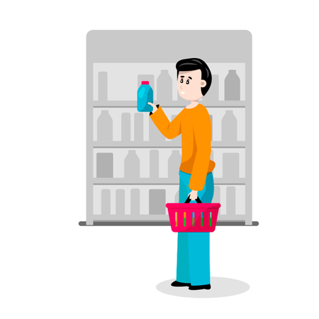 Male buyer chooses goods in supermarket store Illustration
