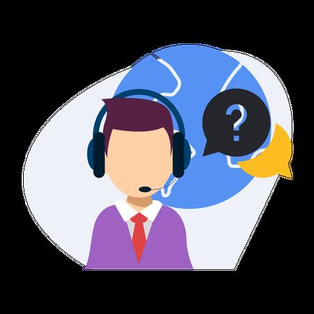 Male Call center executive Illustration