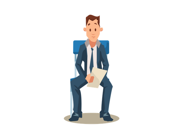 Male Candidate holding resume for job interview Illustration