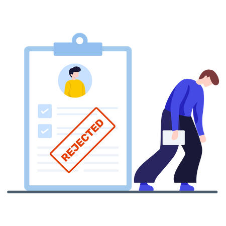 Male candidate reject from interview Illustration