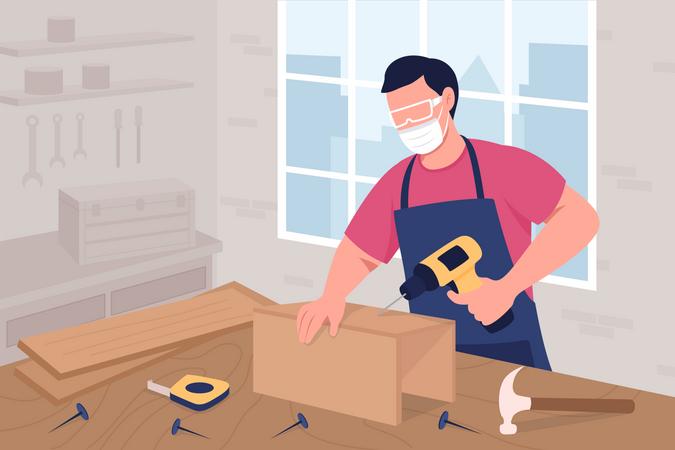 Male carpenter making furniture Illustration