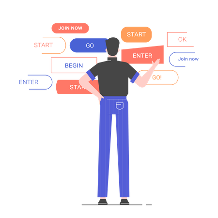 Male character stands with his back in front of different design options of one button Illustration