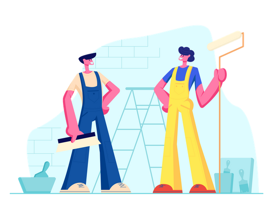 Male Characters in Uniform Overalls Standing on Background with Ladder, Paint Buckets and Equipment for Home Repair Illustration