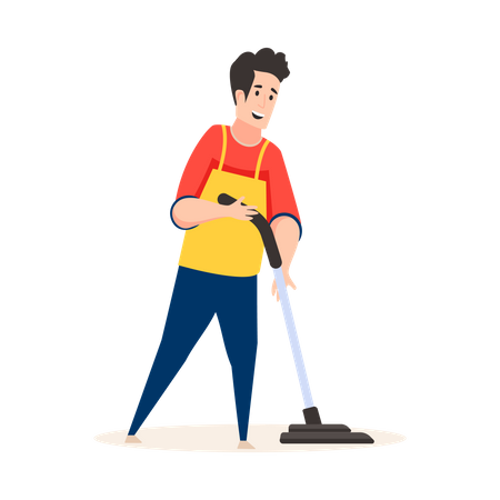Male cleaner cleaning with vacuum cleaner Illustration