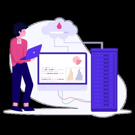 Male cloud engineer uploading data Illustration