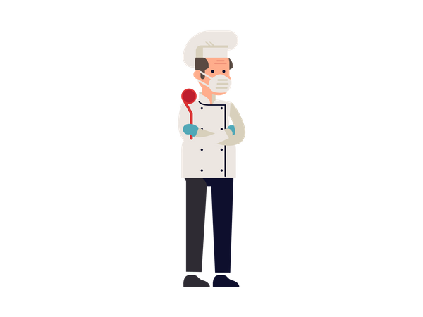 Male cook taking precaution against corona Illustration