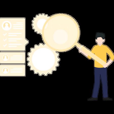 Male developer working on web development Illustration
