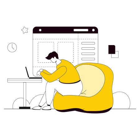 Male developer working on website development Illustration