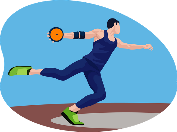 Male Discus Thrower Illustration
