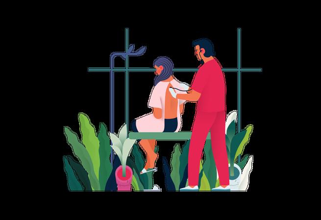 Male doctor doing Diagnostic procedure Illustration