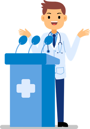 Male doctor giving speech in medical conference Illustration