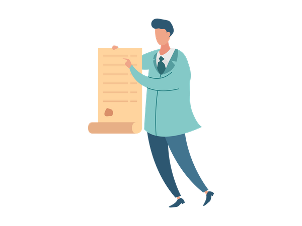 Male doctor holding patient list Illustration