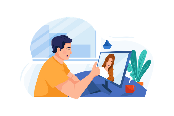 Male employee attending video call meeting Illustration