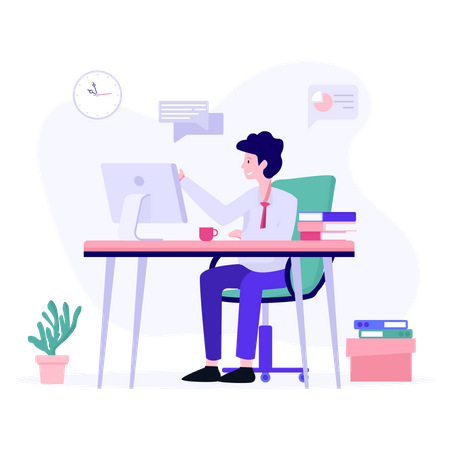 Male employee busy in online meeting Illustration