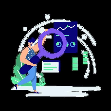 Male employee finding data Illustration