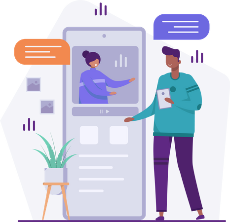 Male employee giving online presentation Illustration