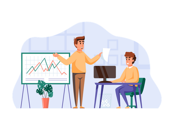 Male employee giving presentation Illustration