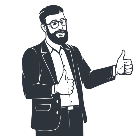 Male employee in suit showing both thumbs up Illustration