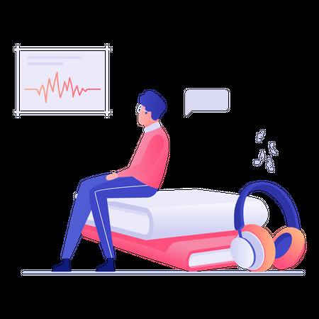 Male employee listening motivational audio Illustration