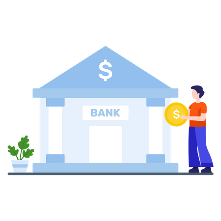 Male employee saving his earning in bank Illustration