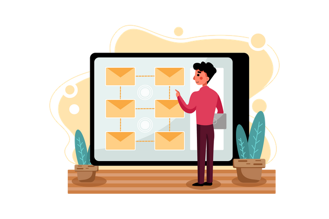 Male employee sending marketing mail Illustration