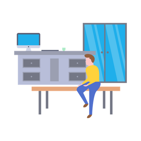 Male employee sitting on table Illustration