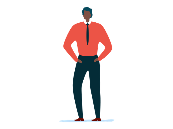 Male employee standing with both hand in pocket Illustration