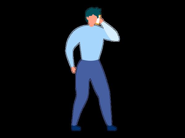 Male employee talking in mobile Illustration