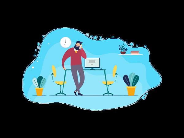 Male employee talking on phone Illustration