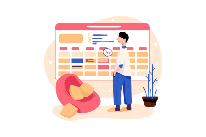 Male employee thinking about task management Illustration