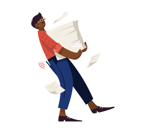 Male employee walking with papers Illustration