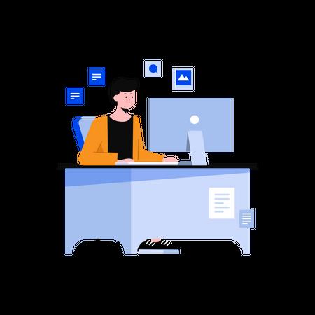 Male employee working in office Illustration