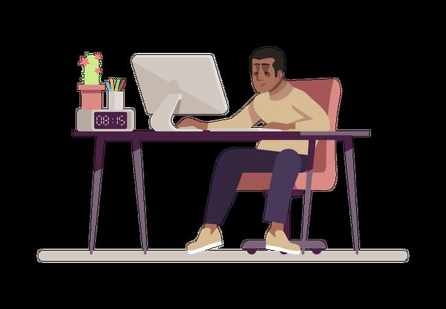 Male Employee Working On Computer Illustration