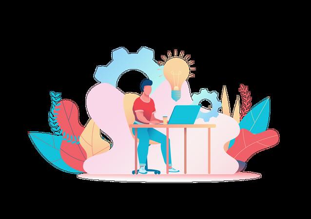 Male employee working on laptop Illustration