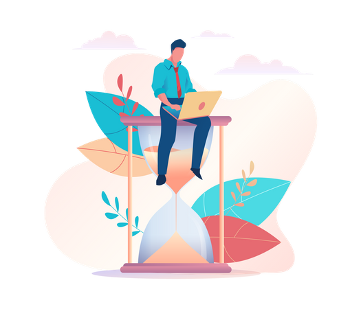 Male employee working on project with time limit Illustration