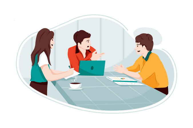 Male employees discussing business report Illustration