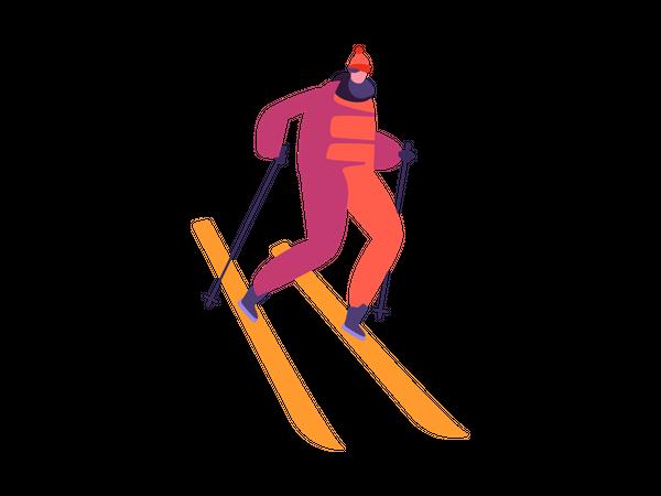 Male enjoying winter sports Illustration