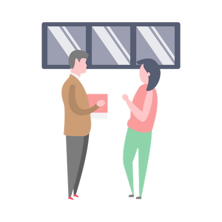 Male executive chatting with female employee Illustration