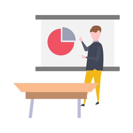 Male executive giving presentation Illustration