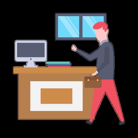 Male executive leaving office Illustration