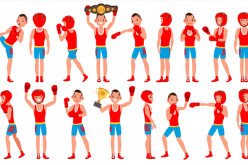 Boxing Player Illustration Pack