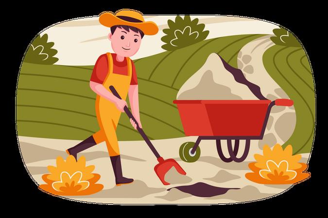 Male farmer cleaning farm Illustration