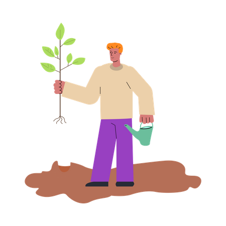 Male farmer doing plantation Illustration