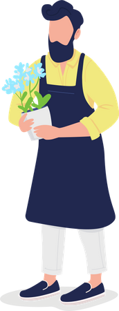 Male florist in apron with flower Illustration