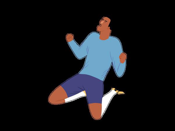 Male footballer enjoying win Illustration