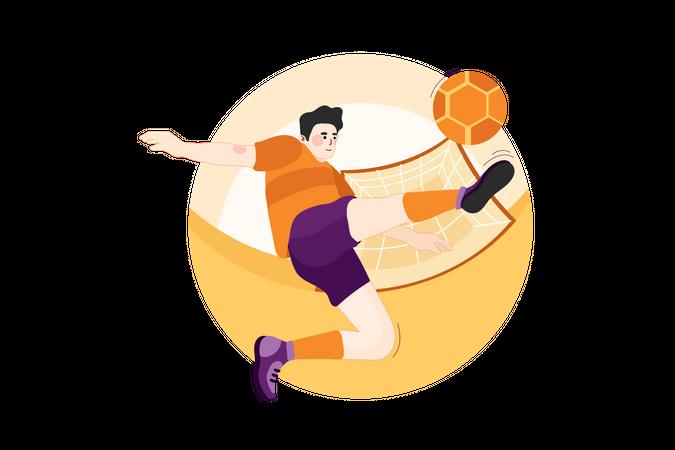 Male Footballer kicking football Illustration