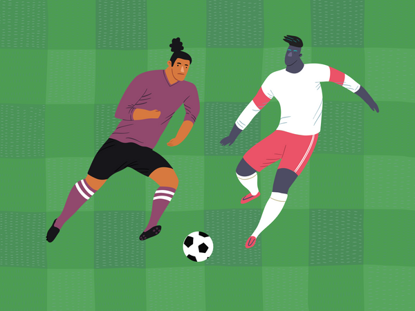Male footballers playing Illustration